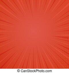 スタイル, ベクトル, イラスト, halftone, 本, 背景, 背景, 印刷, 漫画, texture., 赤