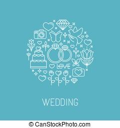 スタイル, ベクトル, 紋章, アウトライン, 結婚式