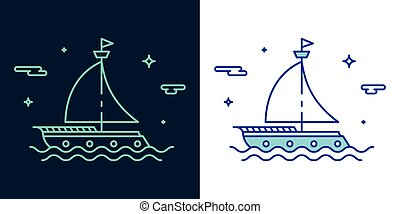 スタイル, ベクトル, 線である, ボート, アイコン