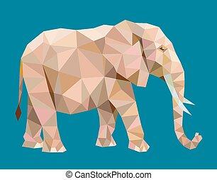 スタイル, ベクトル, 象, 多角形, 低い