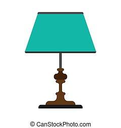 スタイル, ベクトル, 電気である, 屋根裏, シンボル, 屋内, light., ランプ, 装置, 明るい, 枕元, 内部, テーブル, icon., 家具