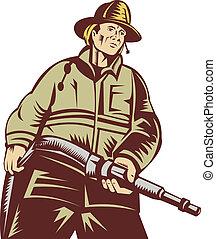 スタイル, ホース, 角度, 木版, 消防士, 届く, される, 低い, 見られた