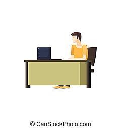 スタイル, モデル, コンピュータ, 机, アイコン, 漫画, 人