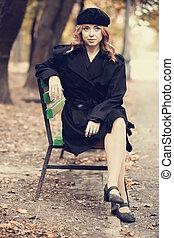 スタイル, モデル, ベンチ, 秋, park., redhead, 女の子