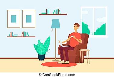 スタイル, モデル, ラップトップ, カップ, 家, 椅子, 漫画, 人