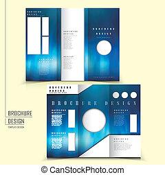 スタイル, レイアウト, tri-fold, ベクトル, デザイン, テンプレート, パンフレット, 未来派