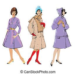 スタイル, レトロ, 女性, -, セット, 優雅である