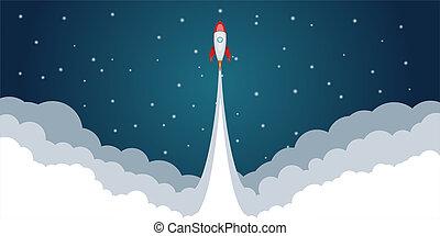 スタイル, ロケット, スペース, 概念, 発射, 漫画