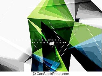 スタイル, 三角形, poly, ベクトル, 低い, 線, 3d