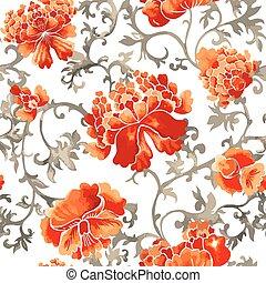 スタイル, 中国語, 装飾, 壁紙, パターン,  seamless, 水彩画, 花
