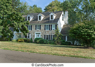 スタイル, 中心, 家族, ペンシルバニア, 家, 郊外, フィラデルフィア, 伝統的である, 単一, colonial/georgian, ホール