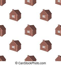スタイル, 丸太, 木製である, シンボル, web., イラスト, 小屋, 単一, ベクトル, 建築である, cabin., アイコン, 漫画, 構造, 株