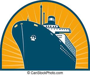 スタイル, 乗客, レトロ, 角度, 船, 海, ボート, 海洋, 低い, 見られた, ライナー, される