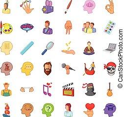 スタイル, 人々, セット, アイコン, 創造的, 漫画