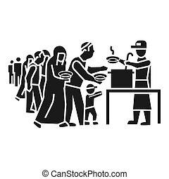 スタイル, 人々, 食物, 避難者, 単純である, 取得, アイコン