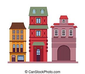 スタイル, 住宅の, クラシック, 古い, 建物, 家, ヨーロッパ, セット