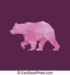スタイル, 傾向, grizzly, イラスト, デザイン, 熊, 動物, 多角形, 赤