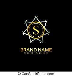 スタイル, 優れた, s, デザイン, 手紙, ロゴ