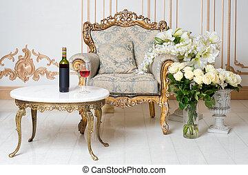 スタイル, 優雅である, 型, 貴族, 贅沢, ガラス, flowers., びん, 肘掛け椅子, 内部, レトロ, テーブル。, classics., ワイン