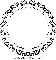 スタイル, 円形にされる, 芸術, nouveau., フレーム