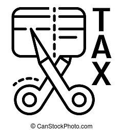 スタイル, 切口, アウトライン, 税, クレジット, アイコン, カード