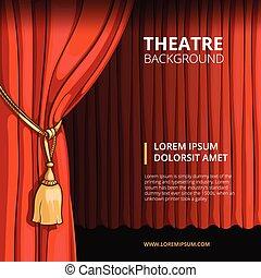 スタイル, 劇場, 型, イラスト, ベクトル, 漫画, curtain., 赤, ステージ