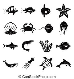 スタイル, 動物, アイコン, セット, 単純である, 海