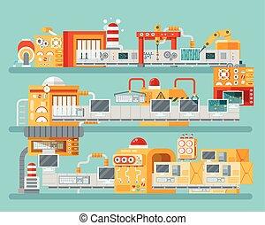 スタイル, 包装, コンベヤー, 縦, イラスト, 生産, コンピュータ, アセンプリ, 個人的, 平ら