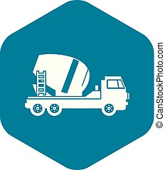スタイル, 単純である, ミキサー, コンクリート, トラック, アイコン
