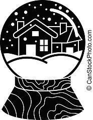 スタイル, 単純である, 家, 地球, 雪, アイコン