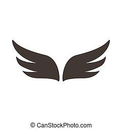 スタイル, 単純である, 抽象的, 対, 黒, アイコン, 翼