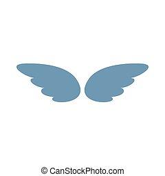 スタイル, 単純である, 銀, 対, アイコン, 翼