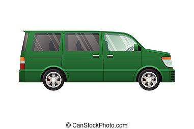 スタイル, 単純である, 隔離された, 緑, minivan, 漫画
