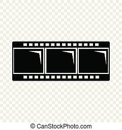 スタイル, 単純である, 黒, ストリップ, アイコン, フィルム