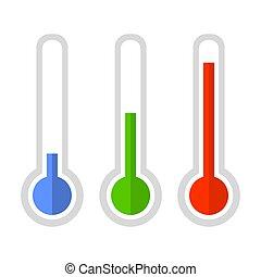 スタイル, 単純である, set., 色, ベクトル, 温度計, アイコン