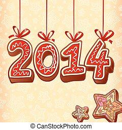 スタイル, 印, 甘いもの, ベクトル, 年, 新しい, クリスマス