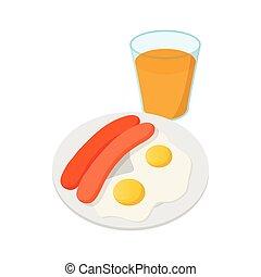 スタイル, 卵, ソーセージ, アイコン, 揚げられている, 漫画