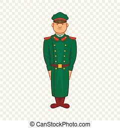 スタイル, 厚地のコート, 役人 アイコン, 軍, 漫画