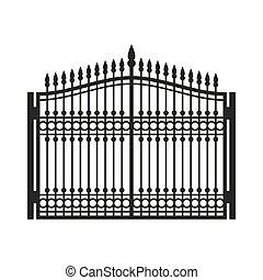 スタイル, 古い, フェンス, door., ベクトル, 鉄, gate., 細工された