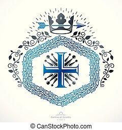 スタイル, 古い, illustration., heraldic, 紋章, ベクトル, 紋章学