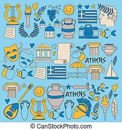 スタイル, 古代, いたずら書き, 歴史, 食物, 旅行, ベクトル, ギリシャ, 音楽, 要素, ワイン