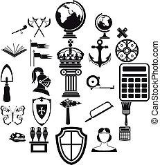 スタイル, 古代, アイコン, セット, 単純である, 世界