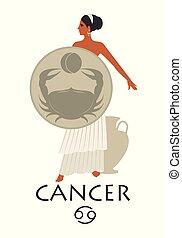 スタイル, 古代, 保護, 彼女, cancer., イメージ, 置くこと, イヤリング, ギリシャ語, peplum, amphora, カニ, feet., 女の子, 黄道帯, greece., 服を着せられる