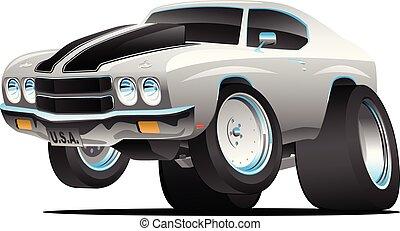スタイル, 古典的な 車, 70代, イラスト, アメリカ人, ベクトル, 筋肉, 漫画