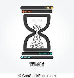 スタイル, 図, テンプレート, 砂時計, infographics, ベクトル, デザイン, 線