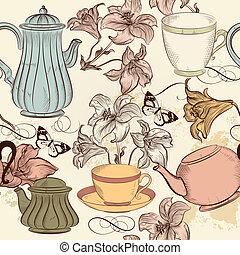 スタイル, 型, 壁紙, seamless, 手, ベクトル, お茶, 引かれる, カップ, ユリ
