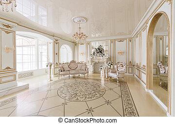 スタイル, 型, 贅沢, 貴族, 内部, 暖炉