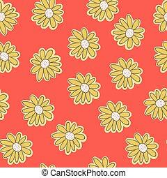 スタイル, 型, seamless, 黄色, 織物, ベクトル, 背景 パターン, オレンジ, ヒナギク, chamomiles