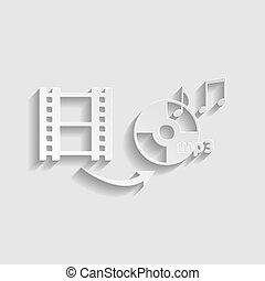 スタイル, 変換器, 印。, ペーパー, ビデオ, icon., オーディオ, illustration.