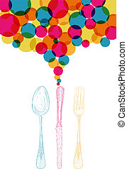 スタイル, 多様性, スケッチ, cutlery, 色, レトロ